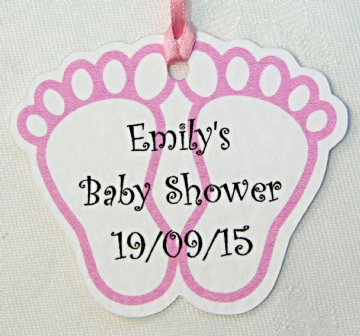 Pink Baby Shower Favour Tags